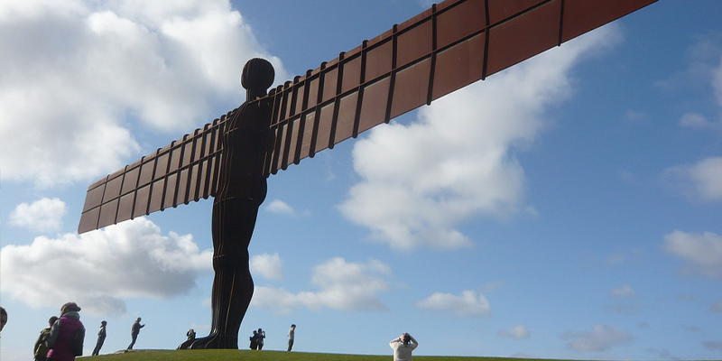 Angel of the North standing in the sun outside Newcastle